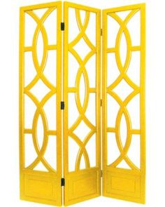 Charleston Yellow Three Panel Screen - modern - screens and wall dividers - Lamps Plus