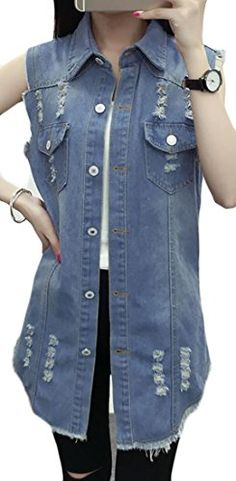 db329a8ad3cf94 Fulok Women s Fashion Boyfriend Ripped Loose Washed Denim Vest Coats Light  Blue X-Small