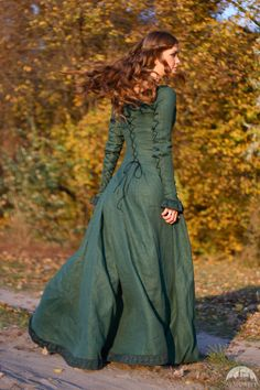 """Medieval Linen Dress, Surcoat And Chaperone Costume """"Autumn Princess"""""""
