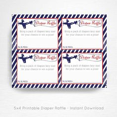Planes Trains Automobiles Baby Shower Party Printable Diaper Raffle Card YOU PRINT Vintage Navy Blue Red instant download  This is an emailed file, nothing will be shipped to you. This is an example of what we can do, if you want to tweak this file please message us in Etsy Convos.  Each card is approximately 5x4 in size (depending on how you trim them). Prints 4/page.  Your cards will be ready to download upon completion of purchase.