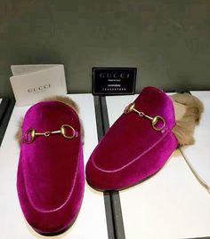 a802bb0bd81 Gucci Inspired Velvet Princetown Fur Slide Mule