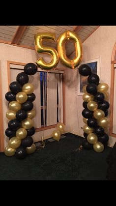 Balloon arch for Birthday Party 50th Birthday Party Ideas For Men, Birthday Party Images, Birthday Party Decorations For Adults, 70th Birthday Parties, Mom Birthday, Rustic Birthday, Cake Birthday, 50th Birthday Balloons, 50th Birthday Centerpieces