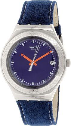 c066945857f Amazon.com  Swatch Women s Irony YGS468 Blue Leather Swiss Quartz Watch   Swatch  Watches