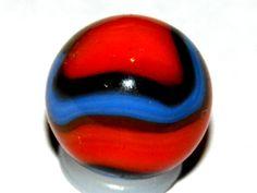 Vintage1920s-40s Akro Agate tri-color corkscrew marble.