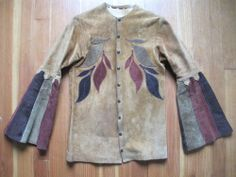 60S EAST WEST musical instruments LEATHER JACKET SHIRT LEATHER BACK TURTLE M