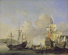 Willem van de Velde de Jonge - Franse koopvaardijschepen voor anker