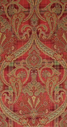 Inspiration for border illustration: Scalamandre Highland Fling printed paisley-plaid velvet