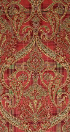 Inspiration for border illustration: Scalamandre Highland Fling printed paisley-plaid velvet