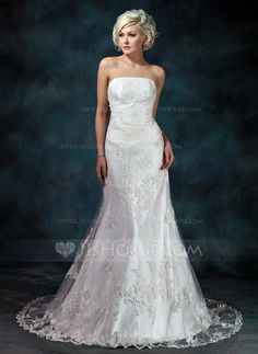 [NZ$ 349.04] Trumpet/Mermaid Strapless Court Train Tulle Wedding Dress With Beading Appliques Lace