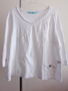 Artist Anthonys blouse lagenlook top artsy art to wear white quirky my gauze XL #Anthonys #Blouse #Casual