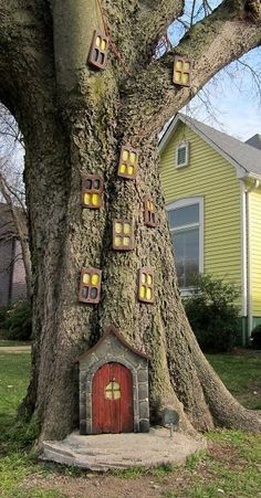 Fun decorative idea for a large front yard tree.