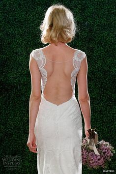 watters spring 2015 wedding dress illusion neckline style 6099b viv back view