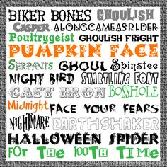 20 Free Halloween Fonts {w/ links} Fancy Fonts, Cool Fonts, Halloween Fonts, Halloween Ideas, Halloween Phrases, Halloween Snacks, Halloween Town, Halloween Crafts, Holiday Fonts