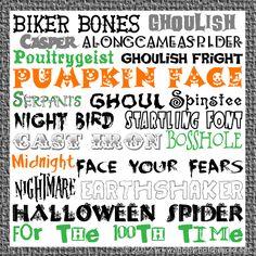 20 Free Halloween Fonts {w/ links} Halloween Fonts, Halloween Cards, Halloween Ideas, Halloween Phrases, Halloween Snacks, Halloween Town, Fancy Fonts, Cool Fonts, Holiday Fonts