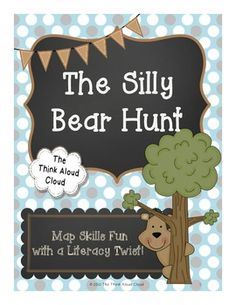 "The Silly Bear Hunt: Map Skills with a Literacy Twist! (Writing Activities) ~ Students LOVE ""The Cool Bear Hunt"" song! This activity connects map skills and writing. Students will create a map of the hunt and then write about it. An organizer, anchor charts and writing pages with scaffolding are included. {Grades 1 – 3}  $   #TeachersPayTeachers #TPT #MapSkills #ELA #Writing"