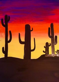 Step By Step Painting For Beginners - Huge Collection Of Online Tutorials painting step by step canvases How To Paint A Cactus Silhouette Sunset - Step by Step Acrylic Painting Tutorial Cactus Drawing, Cactus Painting, Easy Canvas Painting, Rock Painting Ideas Easy, Simple Acrylic Paintings, Acrylic Painting Tutorials, Acrylic Canvas, Easy Paintings, Canvas Art
