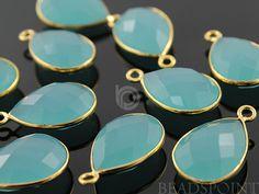 Aqua Blue Chalcedony Bezel Baby Pears Shape Gemstone by Beadspoint, $6.99