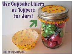 Cute Cupcake Liners as Toppers for Jars! {plus more Gifts in a Jar ideas!} | best stuff