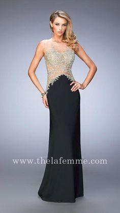 La Femme 21558 Black Two Shoulder Back Zipper Floor Length Prom Dresses