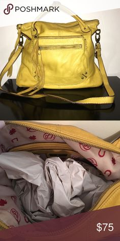 Lucky Brand Yellow Pebble Grain Leather Crossbody Lucky Brand Yellow Buttery Soft Pebble Grain Leather Crossbody.Great as a tote and crossbody! Extremely soft. Has a couple slight markings on corners. Overall in great condition🌞 Lucky Brand Bags Crossbody Bags