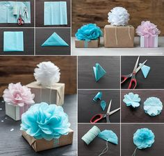 These tissue paper flowers look great. They are nice as home decoration or as topper for gift wrapping, perfect for the gift season. Making these tissue paper flowers are easy and fun. What you will need are Tissue paper or crepe paper Scissors Punch Twine or thread Here is the step by step instructions from Lia Griffith. Have fun making them.