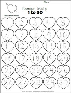 Valentine Hearts Math Worksheet - Trace 1 to 30 Free Heart Math worksheet. Trace the numbers from 1 to 30 on the hearts. This worksheet is a perfect valentine number practice printable for preschool Kindergarten Math Worksheets, Preschool Learning, In Kindergarten, Preschool Activities, Teaching, Preschool Activity Sheets, Valentines Day Activities, Holiday Activities, Math For Kids