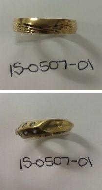 "Found by Colma PD, case 15-0507-01.  The ring in the top photo was engraved with ""Hazel"" and the date ""4-18-09."" The ring in the bottom photo was engraved with ""Helmut"" and the date ""29.8.95."""