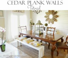 Cedar Planked Wall Tutorial - this is made from cedar fencing, love the fact that the 1x2 vertical strips aren't centered
