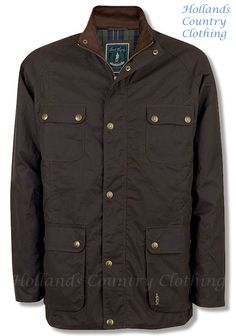 donnacha shown in  rich brown is a waxed cotton jacket with four pockets