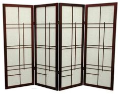 Oriental Furniture Low Eudes Shoji Screen Room Divider -  48 inch Black asian screens and wall dividers