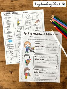 spring descriptive writing activity for first and second grade- nouns and adjectives Descriptive Writing Activities, Literacy Activities, Writing Skills, Spring Activities, Writing Ideas, Writing Prompts, First Grade Writing, First Grade Classroom, Kindergarten Language Arts