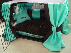 Dog Crate Cover Ensemble in Mint & Chocolate (5 Pieces) and Free Custom Embroidery. $98.00, via Etsy.
