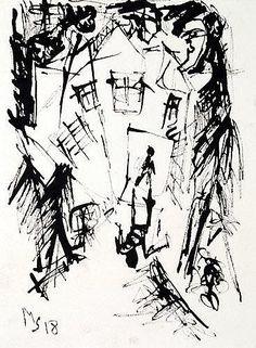 Schwimmer, Max (Leipzig 1895 - 1960) Tusche/Karton. Nächtliche Straßenszene mit Figurenstaffage.
