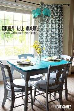Kitchen Table Makeover with Chalky Finish Paint | Here Comes The Sun