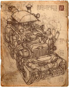 Sketch of Chimera by A steam-powered snowblower designed after the… Steampunk Gadgets, Mechanical Art, Creature Concept Art, Pencil Illustration, Sci Fi Art, Dieselpunk, Art Reference, Art Drawings, Vintage World Maps