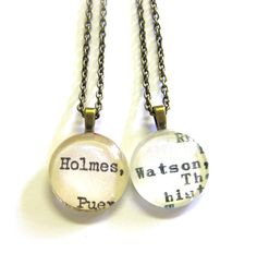 Holmes and Watson Matching Sherlock Best Friend Necklaces Vintage Library Card Charms - Set of 2 (TWO) Bff Necklaces, Best Friend Necklaces, Best Friend Jewelry, Best Friend Outfits, Best Friends, Famous Pairs, Vintage Library, Gifts For Photographers, Library Card