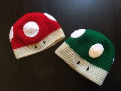 Adult, child, power up/ one up mushroom hat  (red hat) by HippieMommyShop on Etsy https://www.etsy.com/listing/243480610/adult-child-power-up-one-up-mushroom-hat
