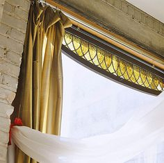 Great Stained Glass transom used as window curtain