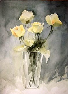 Arn't these the most stunning roses? I love the light and dark contrast. Watercolor Rose, Watercolor Artists, Watercolour Painting, Painting & Drawing, Painting Inspiration, Flower Art, Art Prints, Cinder Blocks, Cream Roses