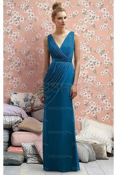 V-neck Chiffon Zipper Natural Bridesmaid Dresses - Formal Dresses - Special Occasion Dresses - Dresshop.com.au