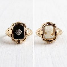 Antique 14K Yellow Gold Flip Ring - Vintage 1920s 1930s Carved Shell Cameo & Onyx and Diamond Fine Jewelry / Double Sided