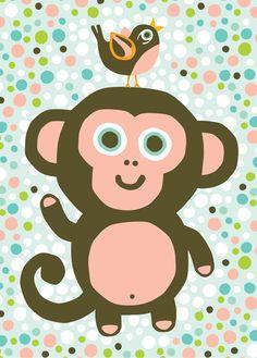 Ansichtkaart aap dierenkaart decoratie kinderkamer babykamer kinderkaartjes