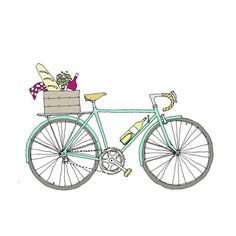 Picnic Bike  Wine Bike  Napa Bike by rachelink on Etsy, $3.00
