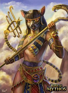 Bastet by PTimm on DeviantArt Egyptian Mythology, Egyptian Goddess, Bastet Goddess, Fantasy Creatures, Mythical Creatures, Egyptian Cats, Egyptian Tattoo, Egypt Art, Gods And Goddesses