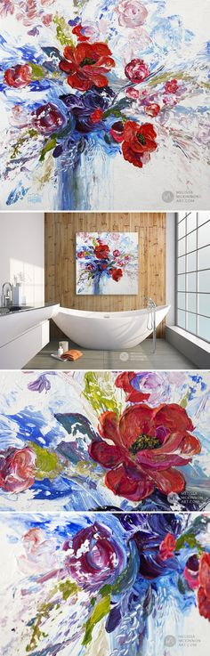 """ORIGINAL PAINTING 24""""X24""""   MELISSA MCKINNON Colourful modern abstract floral painting of red white and blue flower arrangement with red roses and poppy flower blooms by abstract botanical artist Melissa McKinnon   Titled """"THE BRAVERY OF ENTHUSIASM"""" a palette knife impasto acrylic painting on canvas   View the new collection of ORIGINAL BOTANICAL PAINTINGS and fine art giclee PRINTS ON CANVAS in Melissa's online art gallery."""