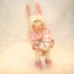 $44.99...Spun cotton snow baby in bunny suit ornament. Easter by jejemae
