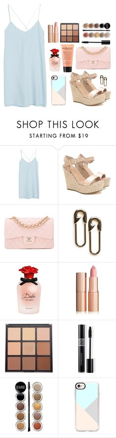 """""""Girls night out"""" by emily-2024099 ❤ liked on Polyvore featuring MANGO, Chanel, philosophy, Dolce&Gabbana, Morphe, Christian Dior, Giorgio Armani, Casetify, asdfghj and quiche"""