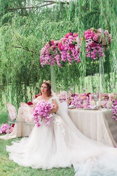 Pink Peony Wedding Inspiration from the Intrigued Experience - Perfete Long Table Wedding, Wedding Table Settings, Our Wedding, Pink Weddings, Garden Weddings, Pink Peonies, Peony, Head Tables, Tall Centerpiece