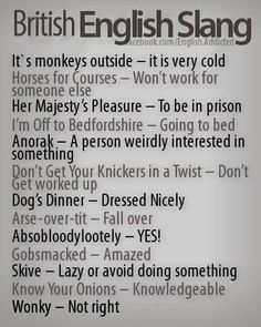 "British English Slang - I've got a couple of additions to this one:'Dog's dinner' commonly means 'a mess', something that's gone wrong, rather than 'dressed nicely'. There's also a common extension to the 'going to bed' phrase, where you say: ""I'm climbing the wooden hill to Bedfordshire."