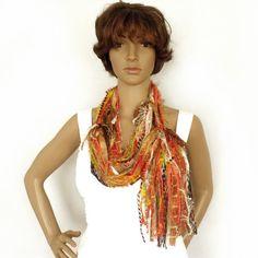 Gypsy hippie scarf, Infinity Scarf, Mix yarn lariat, Fairy scarf, Boho scarf, Wearable fiber art, Spring scarf, Art to wear,